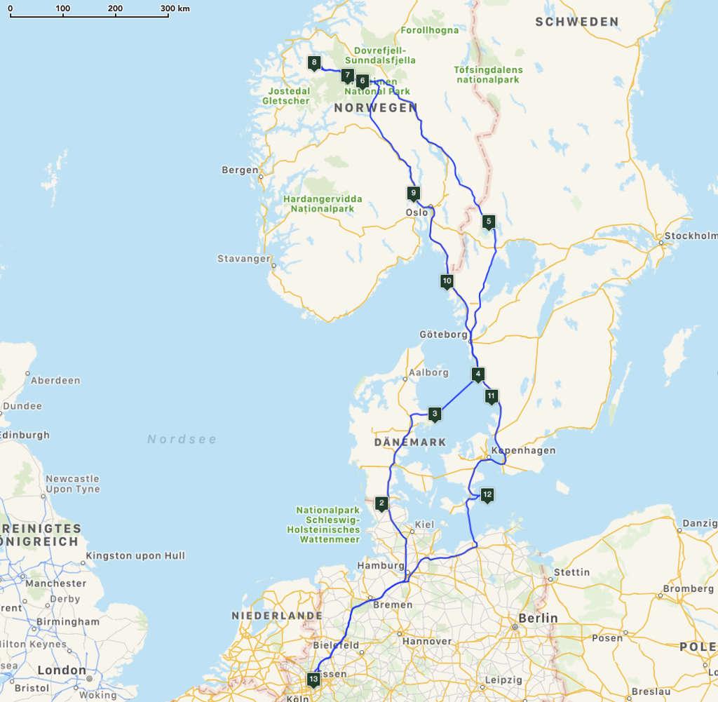 Tourkarte Rundreise Skandinavien