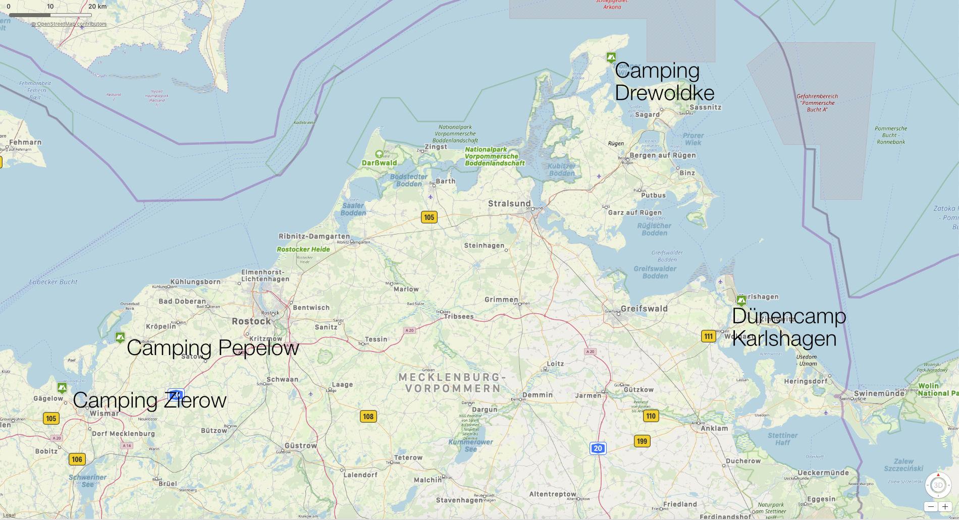 Landkarte Ostsee