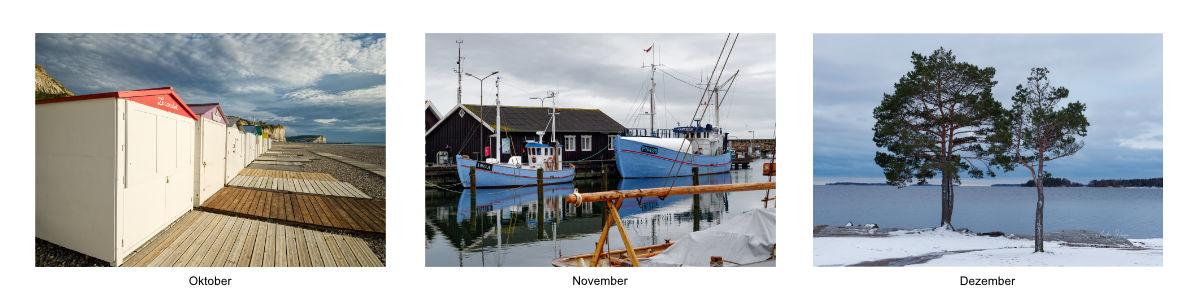 Bilder des Kalenders 2021 von Oktober bis Dezember