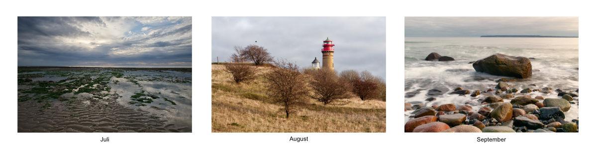 Bilder des Kalenders 2021 von Juli bis September