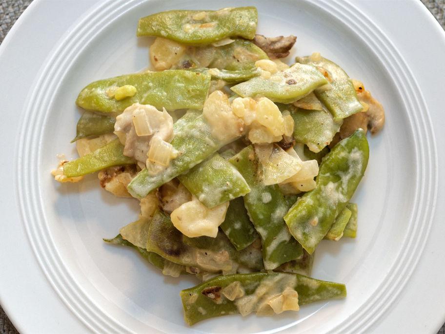 Grüne Bohnen mit Pilzen und Crème Fraiche